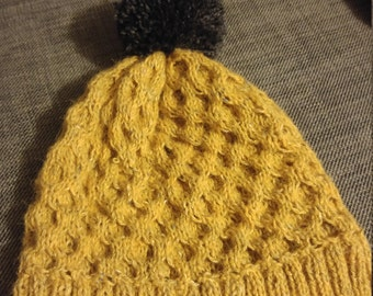 Cable Knit Mustard Beanie
