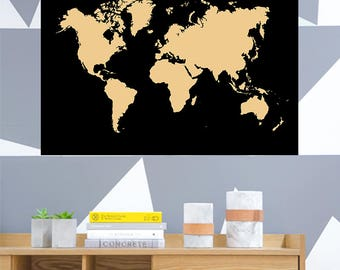World Map Minimal Travel Poster 2 Variations Black/Gold and White/Gold Home Office Holiday (A1, A2, A3, A4)