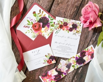 Wedding Printable Invitation, Burgundy Wedding, Floral Invitation Set, Outdoor Wedding, Invitation Suite,Belly Band,Template,Wedding Invites