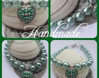 Mint green glass pearl beaded charm bracelet