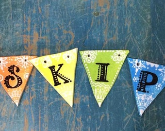 Personalised Letter/Pawprint Cermanic Bunting