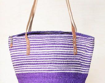 Sisal Leather Tote purple Summer Tote Straw Tote Bag gift Sisal Bag Leather Jute Tote 80s Large Tote Bag straw bag woven purple basket bag
