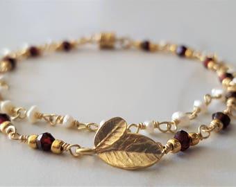 Garnet And Pearl Bracelet, Gold Filled Bracelet, Double Strand Pearl Bracelet, Gold Garnet Bracelet, Charm Bracelet, Dainty Bracelet