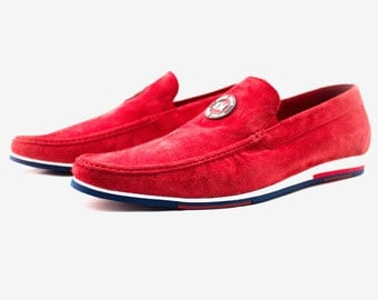 Men Casual Suede Red Loafers SIZE 11