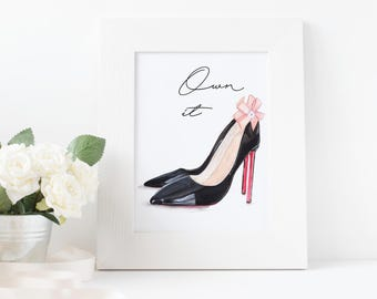 Black High Heels, Watercolor Print, High Heels, Fashion Print