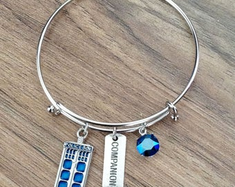 Doctor Who Companion Tardis Police Box Bangle Charm Bracelet With Swarovski Crystal