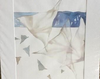 Sailing, wall art, watercolor, contemporary, neutral tones, organic shapes, soothing