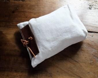 Hemp bag, antique hemp, cowhide leather