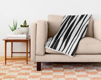 Striped Throw Blanket, black and white Blanket, Throw, Sofa Blanket, Sofa Throw, Fleece Blanket, Soft Blanket, Fleece Throw