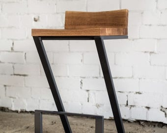Chair with backrest / Industrial chair / Bar chair/ Oak chair with backrest / Industrial furniture