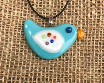 Fused Glass Bluebird Pendant, Handcrafted Jewellery, Fused Glass Jewelry, Handmade Jewellery, Fused Glass Jewellery, Bluebird, Cute Animal