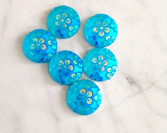 flower cabochon, blue flower girl, 12mm bulk cabochon, epoxy cabs, cute charms, loose cabochon, flat back no holes beads, shiny blue stone