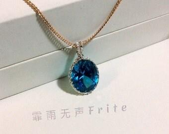Blue zircon pendant 99.9% silver wire rapped necklace pendant