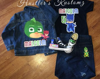 PJ Masks custom birthday outfit, PJ Masks custom, birthday boy outfit, PJ Masks, Pj Masks birthday shirt, birthday boy shirt