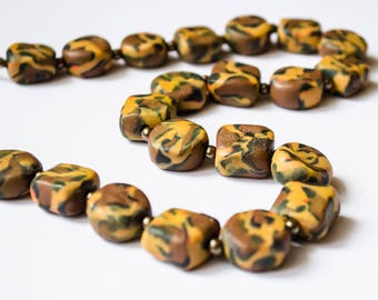 Brown polymer clay necklace