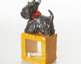 Black Scottish Terrier | Scottie | White Bone  | Scottish Dog For Dog Lovers | Quirky Gift | Beautifully Hand Made Ceramic Ornament