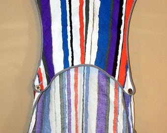 60s 1960s Full Apron Kitchen Paint Striped Handmade Homemade Mod Modern White Black Blue Red Pockets Buttons Abstract Fitted One Size S-L