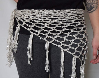 Handmade Crochet Hip Scarf- Ice