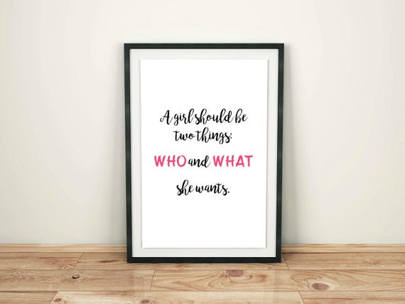 Who and What She Wants Print, Feminist Quote Printable, Strong Women, Girl Power, Feminism, Instant Digital Download, Inspirational Quote