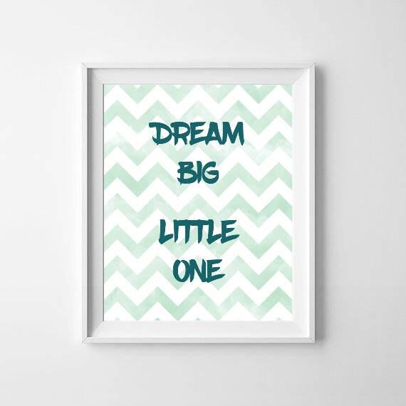 Dream Big Little One Printable, Blue Chevron Print, Dream Print Nursery, Boys Nursery Print, Instant Digital Download, Kids Play Room Art