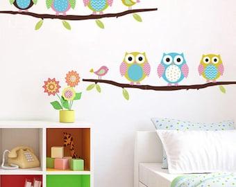 Cute DIY Six Owls Branch Vinyl Decal Wall Mural Sticker Poster Home Room Decor