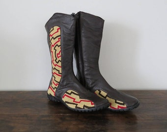 Womens Boots Size 39, Brown Leather Cowboy Boots, Handmade Wayuu Boots