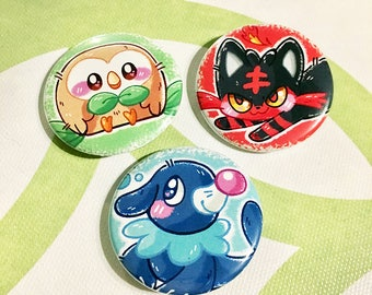 Pokemon Alola Starters Buttons (1.5 in) | Pinback Button Set | Rowlet Litten Popplio