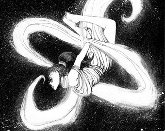 ON SALE! The NGC 660 Galaxy - Original Ink Illustration