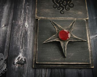 "Wooden brooch ""Blackstar"""