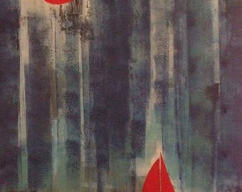 Original acrylic 'red moon and boat'