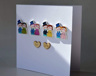 Mr & Mrs wedding wooden button greeting card with envelope 5x5