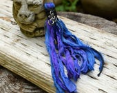 Mala Tassel, Sari Silk, Silver Ohm, Handmade Tassel, Blue / Purple, Jewelry Crafts, DIY