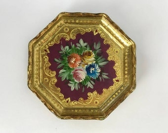 Vintage Florentine Painted Gilt Wood Tourist Wall Decoration