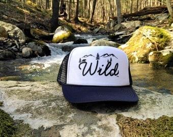 Wild Trucker Hat, Navy Hat, Outdoor Hat