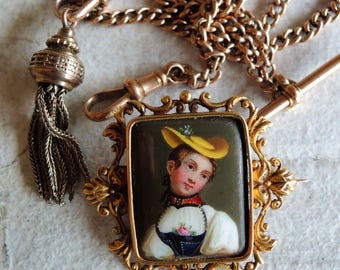 Antique Victorian Enamel Hand Painted Swiss Portrait Brooch
