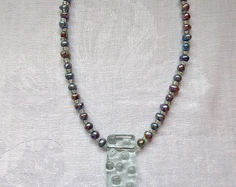 Transparent Fused Art Glass and Pearl Necklace