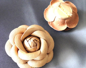 Gold brooch, Chanel brooch, gold faux leather camellia flower brooch