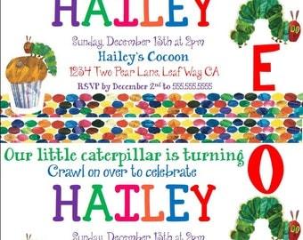 Very Hungry Caterpillar Kids Birthday Invitation