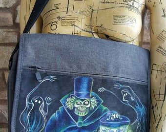 Hat Box Ghost Haunted Mansion Madame Leota Hand Painted Charcoal Grey Messenger Bag