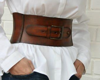 Leather corset belt for women Wide waist belt Western belt Waist cincher