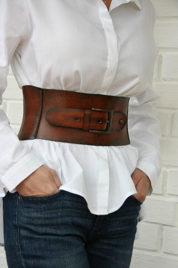 Leather corset belt for women Wide waist belt Western belt