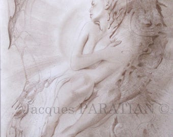 Nude drawing fantastic original - drawing in pencil to the wax and ink-fantastic Art.