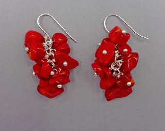 "1.5"" Red Coral Cluster Earrings"