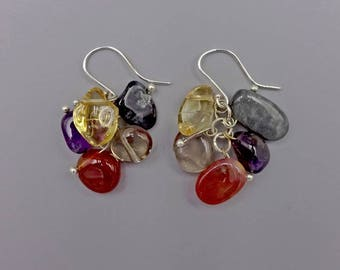 "1.25"" Carnelian, Smoky Quartz, Citrine, Amethyst, Eagle Eyes Earrings"