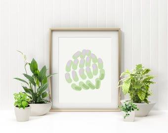 Clover Flower, Green Abstract Poster, Minimalist Poster, Green Nursery Forest Decor, Above Crib Art, Nordic Art Design, Nature Inspired Art