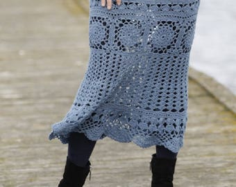 Long Skirt Lace crochet skirt handknit skirt blue skirt long black skirt lolita skirt victorian skirt steampunk skirt Drops Lilith