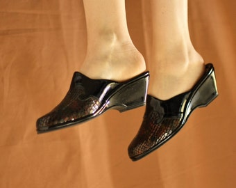 Vintage 1990s Patent Leather Mock Croc Black Wedge Mules New Deadstock UK5 EU38 US7