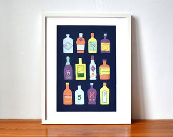 Blue Illustrated Gin Art Print A3