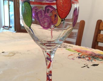 Hand Painted Birthday Wine and Beer Glass