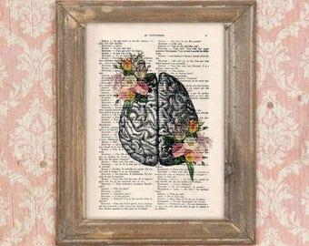 Anatomy Brain Flower Anatomy Print, Human Anatomy art science wall decor, art print drawing Vintage Book Dictionary Gothic  Get well soon